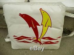 1950's Vintage set of 3 Dolphin CrisCraft style Boat Cushions Nice clean vinyle