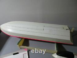 2 Vintage RC Boats 41 MRP Racer & Germany with Futaba Remote, Stand & Parts