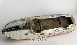 AS IS 50s Vtg TMY Japan WOODEN SPEED BOAT TOY BOAT Battery Powered RESTORE Parts