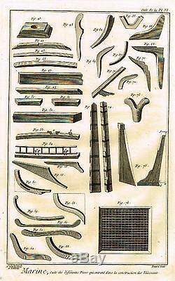Diderot Enclyclopedie MARINE BOAT MAKING PARTS PLATE VI Engraving 1751-72