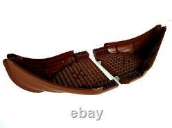 LEGO Lot Viking Ship Boat Parts BOW HULL STERN Reddish Brown SET OF 2 #53452