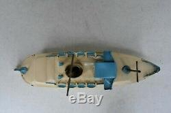 (Lot #1351) Vintage Tin Wind-Up Toy Boat Ship Made in Germany 9 Long for Parts