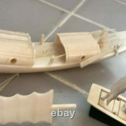 Lot of Vintage Carved Bovine Bone Carved Chinese Boats for Parts or Repair