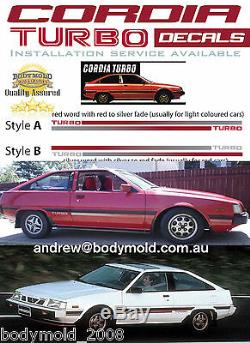 Mitsubishi Cordia Turbo Decals/stripes Vintage Mid 1980's