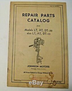Old 1946 Johnson Outboard Boat Motor Models Lt At Dt 10 39 Repair Parts Catalog
