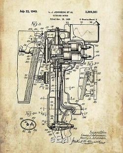 Outboard Boat Motor Patent Print Johnson Parts Dealer Service Office Wall Decor