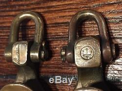 Pair Of Vintage Merriman Polished Bronze Open Blocks 1 1/2 Sheaves, 3/8 Line