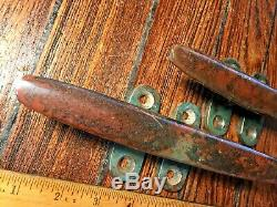 Pair Of Vintage Solid Bronze Cleats 8 Long, Nice Patina