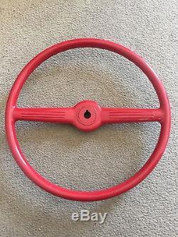 Rare NOS Vintage SHELLER 15 Outboard Boat Red Steering Wheel & Helm