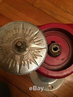Rare Used Vintage Outboard Boat Red Steering Wheel & HelmWilcox Crittenden