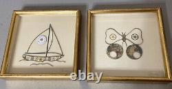 Rare Vintage Art With Antique Watch Clock Parts Timepiece Butterfly Boat