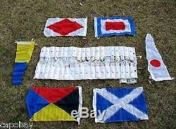 Set of 40 VINTAGE SHIPS SIGNAL FLAGS wDUFFLE-SEWN-WOODEN TOGGLES-12 Photos-L@@K