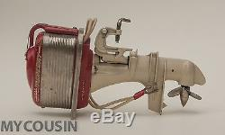 TOY OUTBOARD MOTOR 1950s MERCURY K&O TOY WOOD BOAT VINTAGE BATTERY OPERATED, RED
