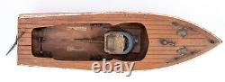 VINTAGE 1960s BATTERY OPERATED TOY WOOD AND PLASTIC SPEED BOAT PARTS OR REPAIR