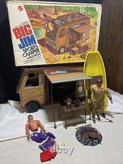 VINTAGE BIG JIM SPORTS CAMPER FOR 9 FIGURE w BOAT, PARTS & GEAR IN BOX MATTEL