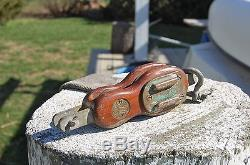 VINTAGE DOUBLE WOOD BLOCK, Antique Sailboat Hardware, MERRIMAN, Unique Part, NR