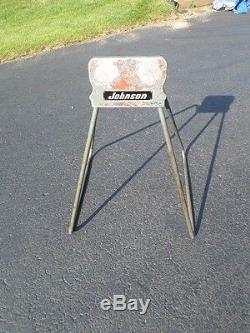VTG Johnson OMC Outboard Boat Motor Display Stand! Aluminum Sign Evinrude Metal