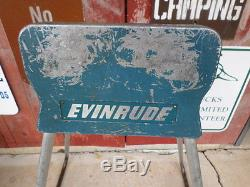 VTG RARE Evinrude OMC Outboard Boat Motor Display Stand! Aluminum Sign Metal
