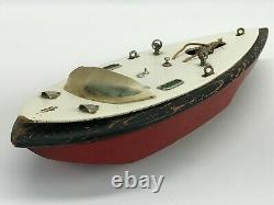 Vintage 16 Wooden Toy Boat with Metal Accents NO ENGINE FOR PARTS OR REPAIR