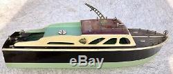 Vintage 17.5 Cabin Cruiser Battery Powered Model Boat Japan Restoration / Parts
