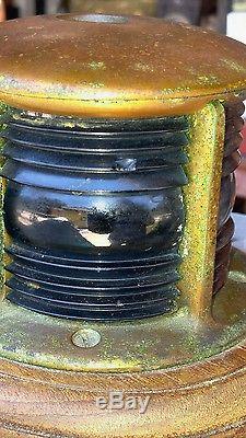 Vintage 1930's Brass Bow Light Blue Red Lens Great Art Deco Design! Chris Craft