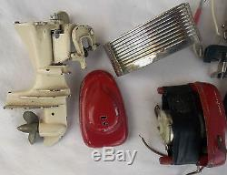 Vintage 1950's The Fleet Line Wooden Model Boat with 2 Electric Motors & Parts