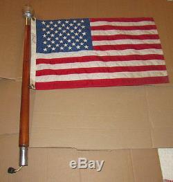 Vintage 1950s Wood Boat Marine Stern Pole w / Light Flag Pole Glass Globe