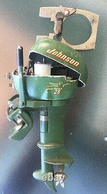 Vintage 1955 JOHNSON 25 Sea Horse Toy Outboard Boat Motor For parts or Repair