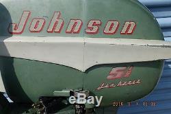 Vintage 1955 Johnson 5.5 HP Sea Horse Boat Motor With 4 Gallon Gas Tank & Hose