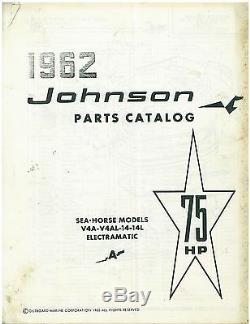 Vintage 1962 Johnson 75 hp Sea Horse Boat Motor Parts Catalog