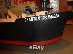 Vintage 1964 Ideal Phantom Raider Boat Ship Toy With Box Parts or Repair RARE