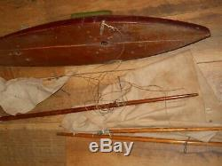 Vintage 24 Hollow Wooden Pond Sailing Boat With Original Masts, Sails, & Parts