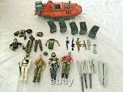 Vintage 4 GI Joe Action Figures 1980's Hasbro -Devilfish Boat Body Parts