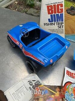 Vintage BIG JIM FISHIN TRIP Set Box Dune Buggy Boat Tent Mattel 1970s Lot Parts
