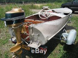 Vintage Boat Aluminum Step-N-Trim Tabs Wood Feathercraft Hydroplane Race LOOK