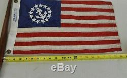 Vintage Boat Yacht Nautical Anchor USA Flag 20 Mahogany Wood Pole Chris Craft