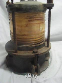 Vintage Brass Bronze Boat Ship Navy Navigation Light Clear Fresnel Lens