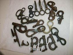 Vintage Bronze Lot of 20 Sailboat Nautical Boat Parts, Hanks, Snaps, Hooks, Cleat
