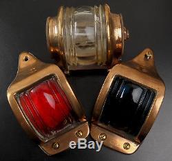 Vintage Bronze Marine Boat Yacht Navigation Lights A Fine Set