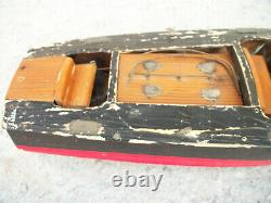 Vintage Chris Craft Wood Battery Powered RC Boat for Parts or Repair