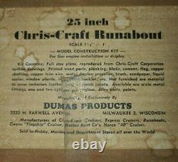Vintage Dumas Balsa Model Kit, 25 Inch Chris-Craft Runabout Boat, Unbuilt, Parts