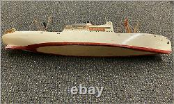 Vintage Fishing Boat Model For Parts or Restoration AS IS 21.5