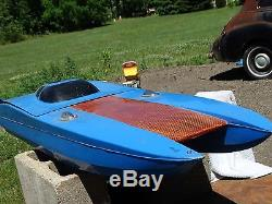 Vintage Huge 52 R/C Speed Boat Remote Control Fiberglass Hull Parts Repair