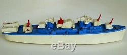 Vintage Ideal Action U. S. Destroyer Plastic Boat With Moving Parts & Partial Box