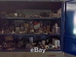 Vintage Ignition Tuneup Parts Service Station Metal Box Cabinet Garage