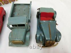 Vintage Japan Tin Litho Toy Lot For Parts Bulls Eye Boat Tank Service Truck