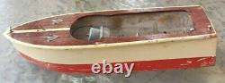 Vintage Japanese Wooden Model Boat For Parts/Restoration 9 1/2 1950's