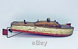 Vintage KEYSTONE Wood Toy Navy Boat 1930s Rare PARTS