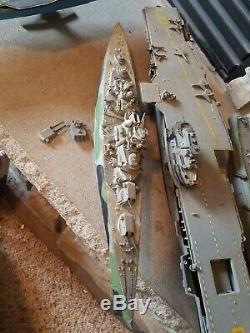 Vintage Lot Plastic Model Military Ships Boats Navy Destroyers Parts Kitbash Sea