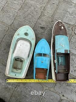 Vintage Model Battery Operated Motor Toy Speed Boat Lot Parts MIC HK Japan USA